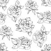 Vektorrosen. Schwarz-weiß gestochene Tuschekunst. nahtlose Hintergrundmuster. Stofftapete Druck Textur auf weißem Hintergrund.
