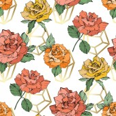 Fotografie Orange, yellow and coral roses. Engraved ink art. Seamless background pattern. Fabric wallpaper print texture on white background.