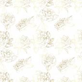 Vektor růže. Zlaté gravírované inkoust umění. Vzor bezešvé pozadí. Látkové tapety tisk textury na bílém pozadí.