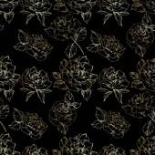 Fotografie Osnovy květy růže. Ryté inkoust umění. Vzor bezešvé pozadí. Látkové tapety tisk textury na černém pozadí