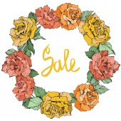 Vector. Rose flowers floral wreath. Coral, yellow and orange roses engraved ink art. Sale handwritten monogram calligraphy.