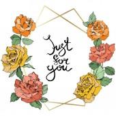 Fotografia Vettore. Fiori di rosa e cornice in cristallo dorato. Arancio, Rose gialle e corallina inciso arte di inchiostro. Forma di poliedro di cristallo geometrico su fondo bianco. Solo per voi-calligrafia calligrafia in monogramma