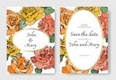 Vektor Rózsa virágok. Esküvői meghívók-virágos szegéllyel. Köszönöm, rsvp, pályázati elegáns kártya illusztráció grafikai készlet.