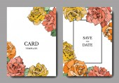 Vector rose flowers. Wedding cards with floral borders. Thank you, rsvp, invitation elegant cards illustration graphic set.