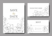 Photo Vector. Silver rose flowers on white cards. Wedding cards with floral decorative borders. Thank you, rsvp, invitation elegant cards illustration graphic set. Engraved ink art.