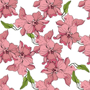 Beautiful pink orchid flowers on white background. Seamless background pattern. Fabric wallpaper print texture. Engraved ink art.