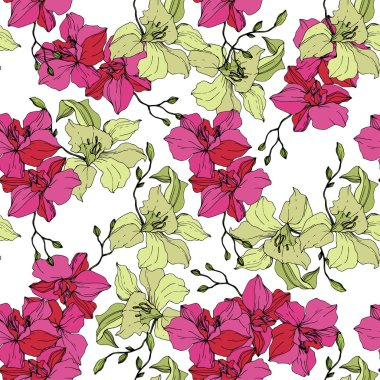 Beautiful pink and yellow orchid flowers. Seamless background pattern. Fabric wallpaper print texture. Engraved ink art on white background. clip art vector
