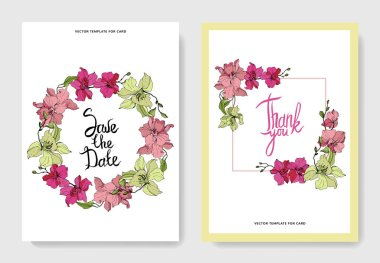 Beautiful orchid flowers engraved ink art. Wedding cards with floral decorative borders. Thank you, rsvp, invitation elegant cards illustration graphic set. stock vector