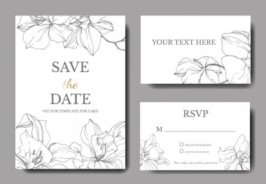Beautiful Vector Orchid Flowers. Silver engraved ink art. Wedding cards with floral decorative borders. Thank you, rsvp, invitation elegant cards illustration graphic set. clip art vector