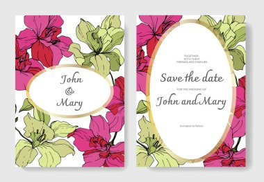 Beautiful orchid flowers engraved ink art. Wedding cards with floral decorative borders. Thank you, rsvp, invitation elegant cards illustration graphic set. clip art vector