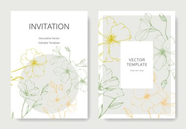 Vector. Flax flowers. Engraved ink art. Wedding cards with floral decorative borders. Thank you, rsvp, invitation elegant cards illustration graphic set.
