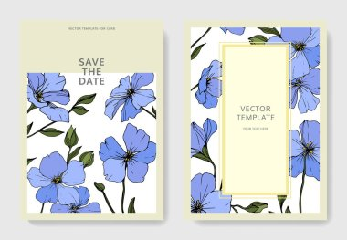 Vector. Blue flax flowers. Engraved ink art. Wedding cards with floral decorative borders. Thank you, rsvp, invitation elegant cards illustration graphic set. clip art vector