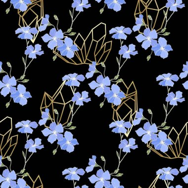 Vector. Blue flax flowers. Spring wildflowers. Engraved ink art. Seamless pattern on black background. Fabric wallpaper print texture. stock vector