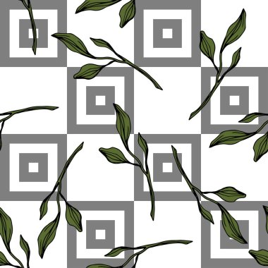 Vector. Green leaves botanical garden floral foliage. Engraved ink art. Seamless pattern on white background. Fabric wallpaper print texture. stock vector