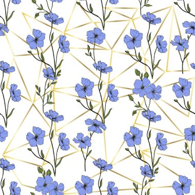 Beautiful blue flax flowers. Engraved ink art. Seamless pattern on white background. Fabric wallpaper print texture. clip art vector