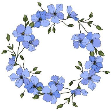 Vector. Blue flax flowers with green leaves isolated on white background. Engraved ink art. Frame floral wreath. stock vector