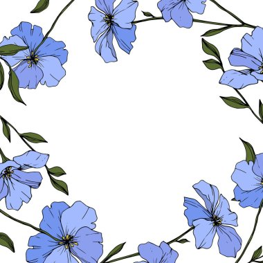 Vector. Blue flax flowers with green leaves and buds isolated on white background. Engraved ink art. stock vector