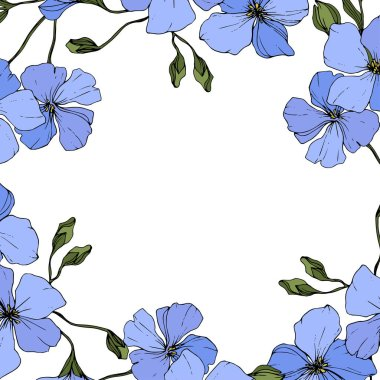 Vector. Blue flax flowers with green leaves and buds isolated on white background. Engraved ink art. clip art vector