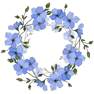Vector. Blue flax flowers with green leaves isolated on white background. Engraved ink art. Frame floral wreath.