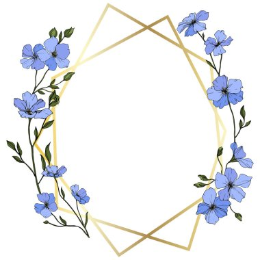 Vector. Blue flax flowers with green leaves and buds. Engraved ink art. Frame golden crystal. Geometric crystal stone polyhedron mosaic shape.