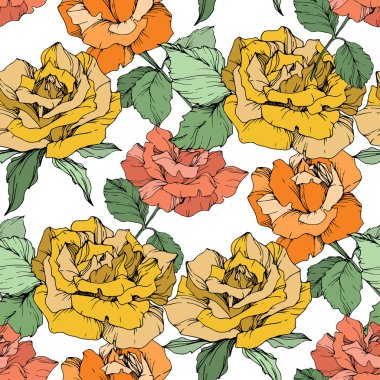 Orange, yellow and coral roses. Engraved ink art. Seamless background pattern. Fabric wallpaper print texture on white background. clip art vector