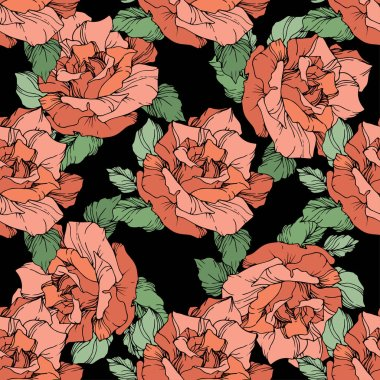 Red roses. Engraved ink art. Seamless background pattern. Fabric wallpaper print texture on black background. clip art vector