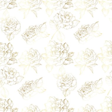 Vector Roses. Golden engraved ink art. Seamless background pattern. Fabric wallpaper print texture on white background. clip art vector