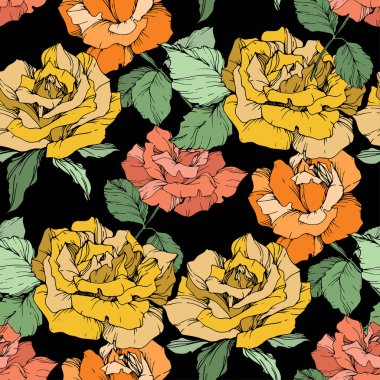 Orange, yellow and coral roses. Engraved ink art. Seamless background pattern. Fabric wallpaper print texture on black background. clip art vector