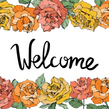 Vector. Rose flowers floral borders on white background. Yellow, orange and coral roses engraved ink art. Welcome handwriting monogram calligraphy.