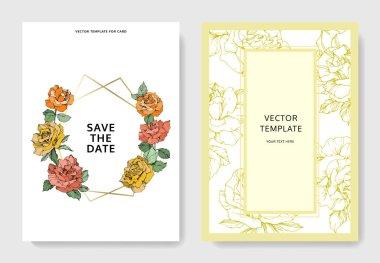 Vector rose flowers. Wedding cards with floral borders. Thank you, rsvp, invitation elegant cards illustration graphic set.