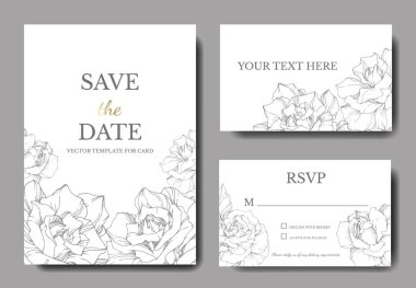 Vector. Silver rose flowers on white cards. Wedding cards with floral decorative borders. Thank you, rsvp, invitation elegant cards illustration graphic set. Engraved ink art. clip art vector