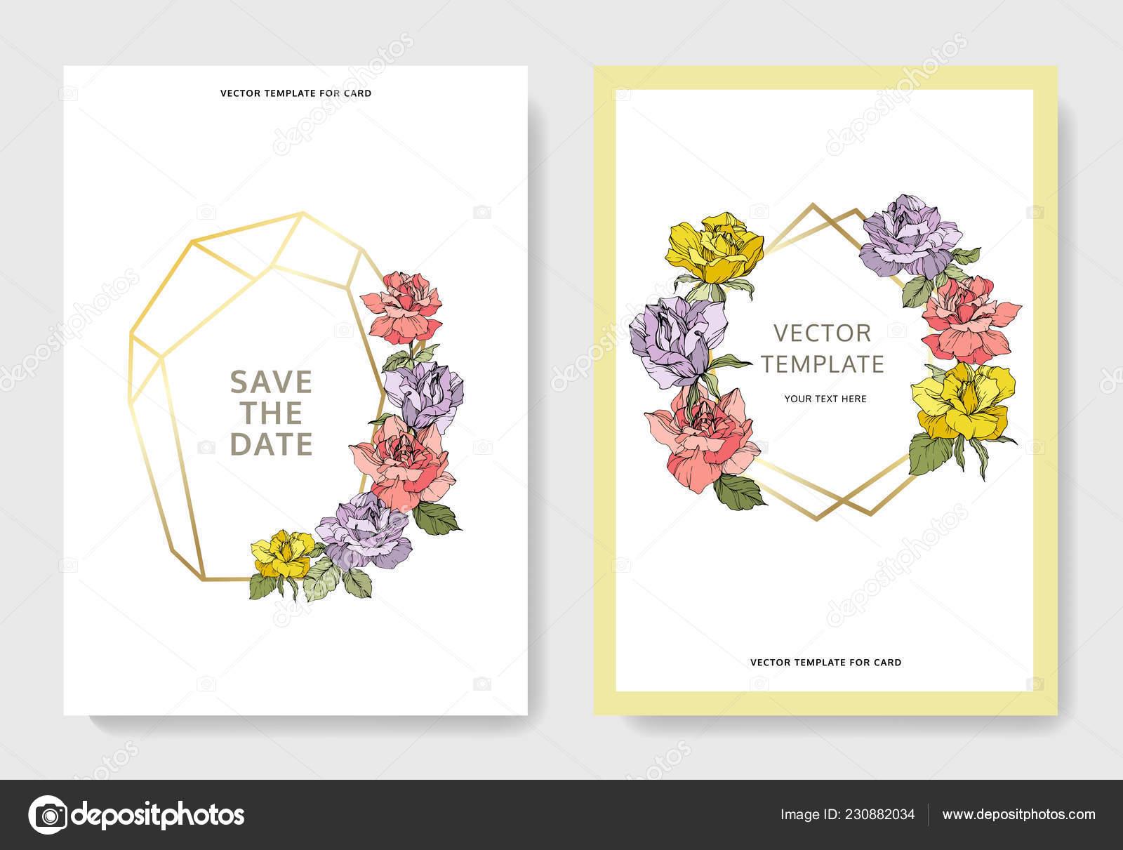 Schone Rosenbluten Auf Karten Hochzeitskarten Mit Blumen Dekorative