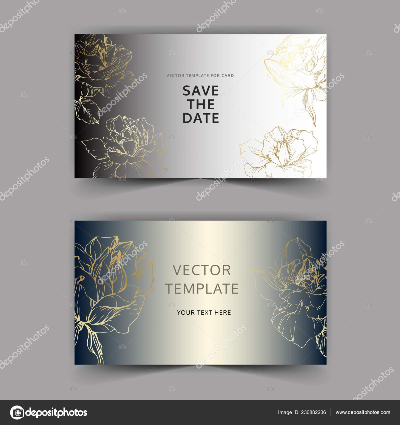 Vector Oro Rosas Plata Tarjetas Invitaciones Boda Con Bordes
