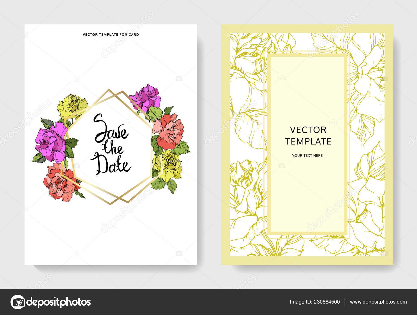 Vektor Korallen Gelb Und Lila Rosenbluten Auf Karten Hochzeitskarten