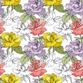 Fotografie Pink, yellow and purple roses. Engraved ink art. Seamless background pattern. Fabric wallpaper print texture on white background.