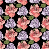 Fotografie Pink and purple roses. Engraved ink art. Seamless background pattern. Fabric wallpaper print texture on black background.