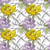 Photo Yellow and purple roses. Engraved ink art. Seamless background pattern. Fabric wallpaper print texture on white background.