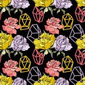 Fotografia Rose rosa, gialle e viola. Arte di inchiostro inciso. Reticolo senza giunte della priorità bassa. Carta da parati tessuto stampa texture su priorità bassa nera