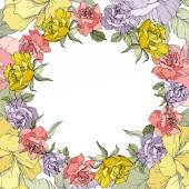 Vektor. Květy růže květinový věnec na bílém pozadí. Žluté, fialové a růžové růže vyryto inkoust umění