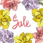 Fotografie Vektor. Rosen-Blumen-Frame auf weißem Hintergrund. Gelb, rosa und lila Rosen graviert Tinte Kunst. Verkauf handschriftlich Monogramm Kalligraphie