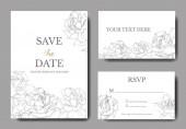 Vektor. Ezüst Rózsa virágok fehér lapot. Esküvői meghívók-virágos dekoratív határok. Köszönöm, rsvp, pályázati elegáns kártya illusztráció grafikai készlet. Vésett tinta art.