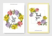 Fotografie Beautiful rose flowers on cards. Wedding cards with floral decorative borders. Thank you, rsvp, invitation elegant cards illustration graphic set. Engraved ink art.