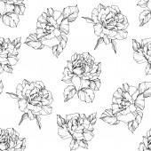 Vektor růže. Černá a bílá vyryto inkoust umění. Vzor bezešvé pozadí. Látkové tapety tisk textury na bílém pozadí.