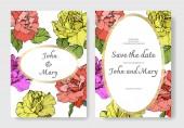 Vektor. Korallen, gelbe und lila Rosenblüten auf Karten. Hochzeitskarten mit floralen Zierrändern. danke, rsvp, einladung elegante karten illustration grafik set. Tuschebilder.
