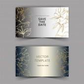 Vektor. Arany Rózsa virágok, ezüst kártyák. Esküvői meghívók-virágos dekoratív határok. Köszönöm, rsvp, pályázati elegáns kártya illusztráció grafikai készlet. Vésett tinta art.