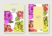 Fotografie Vector. Coral, yellow and purple rose flowers on cards. Wedding cards with floral decorative borders. Thank you, rsvp, invitation elegant cards illustration graphic set. Engraved ink art.