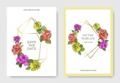 Photo Vector. Coral, yellow and purple rose flowers on cards. Wedding cards with floral decorative borders. Thank you, rsvp, invitation elegant cards illustration graphic set. Engraved ink art.