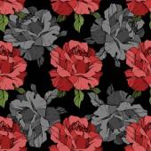 Szürke és vörös rózsával. Vésett tinta art. Varratmentes háttérben minta. Szövet tapéta nyomtatása textúra-fekete háttér.