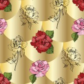 Fotografie Vector. Pink and red rose flowers. Engraved ink art. Seamless background pattern. Fabric wallpaper print texture on golden background.
