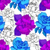 Fotografie Blue and purple roses. Engraved ink art. Seamless background pattern. Fabric wallpaper print texture on white background.